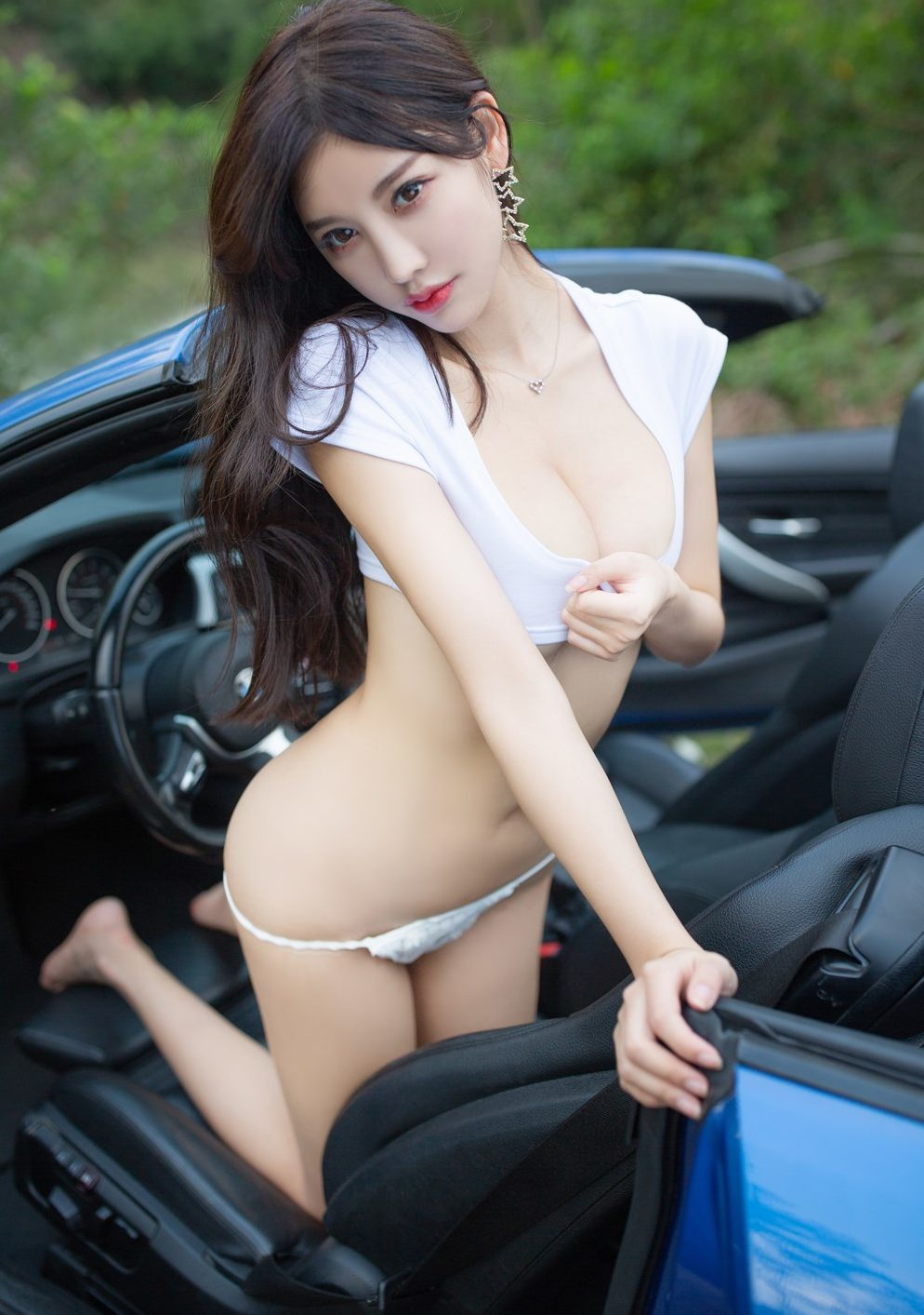 yang chen chen wild asian girl car position